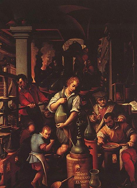 Il_laboratorio_dell'alchimista,_Giovanni_Stradano,_studiolo_di_Francesco_I