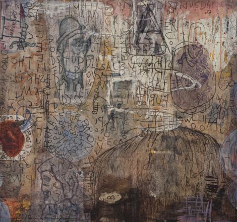 Marc Leduc «Quoique» (2008) technique mixte sur bois (61cm x 66cm)