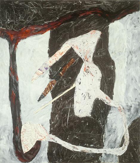 Marc Garneau «Urne IV» (1988) techniique mixte sur toile (150cm x 130cm)