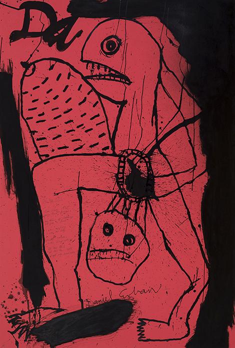 Daniel Erban «Da Big Tit» (2001) technique mixte sur carton (152cm x 102cm)